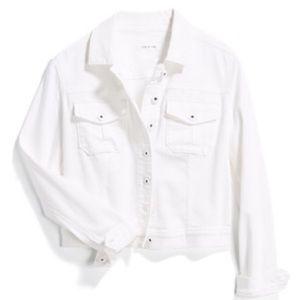 Lila Ryan Avianna Cropped White Denim Jacket